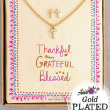 Load image into Gallery viewer, Cross Necklace + Earrings Set