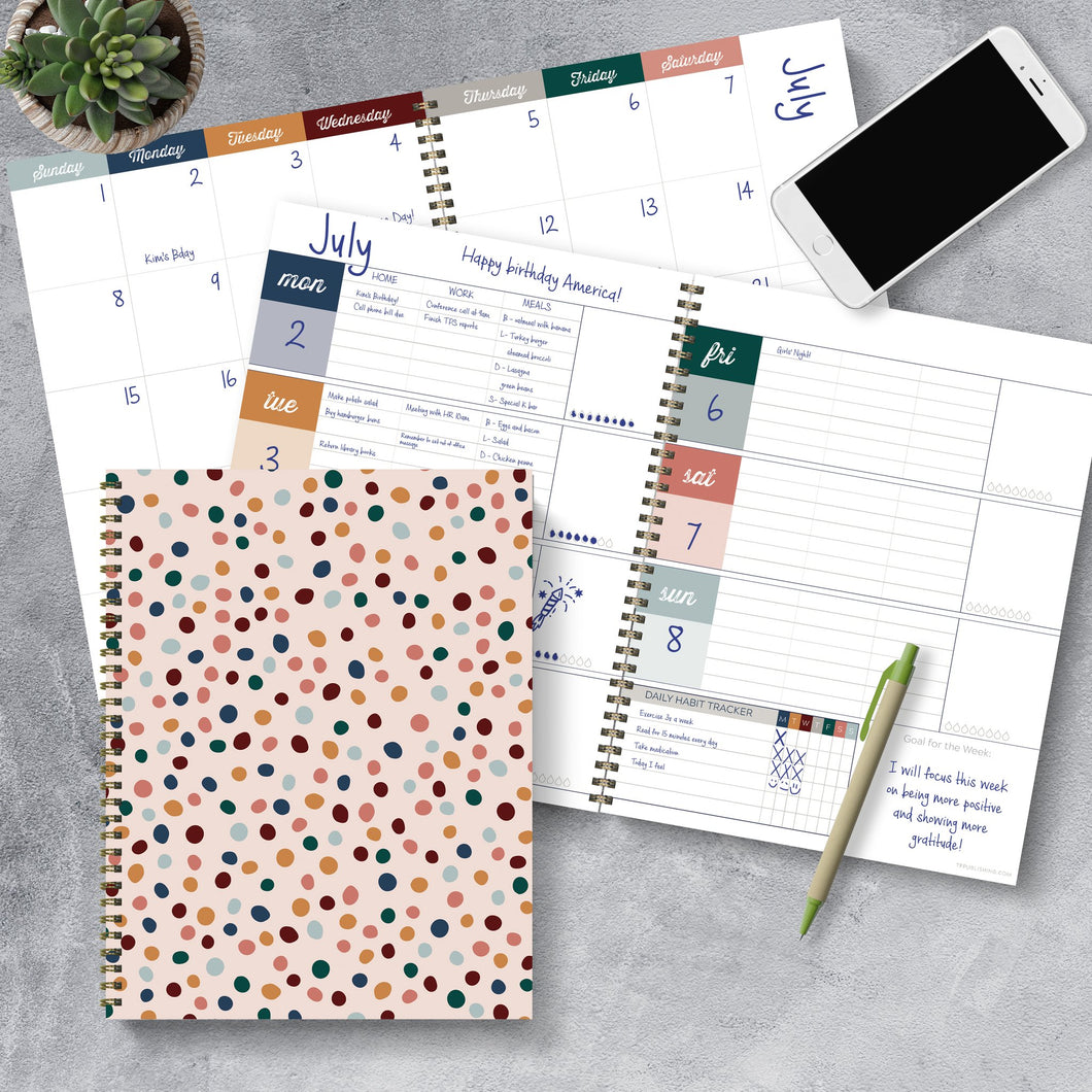 Undated Large Weekly + Monthly Spiral Planner