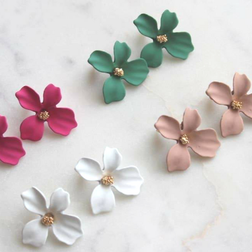 Flower Stud Earrings: Multiple Colors