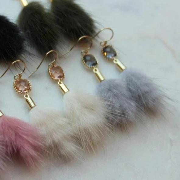 Faux Fur Tassel Earrings: Multiple Colors