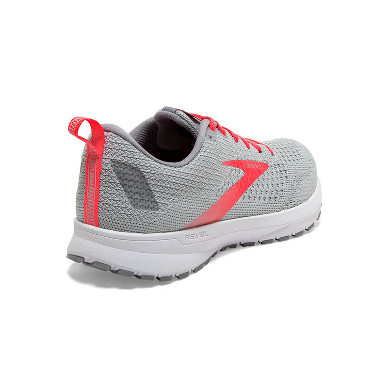 Brooks W Revel 4 - Oyster/Alloy/Fiery Coral