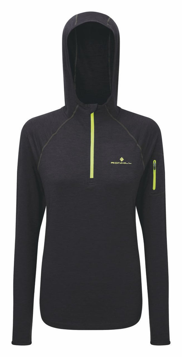RonHill W Momentum Workout Hoodie - Charcoal/Fluo Yellow
