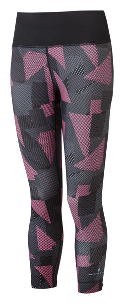 RonHill W Life Crop Tight - Black/Hot Pink Laser