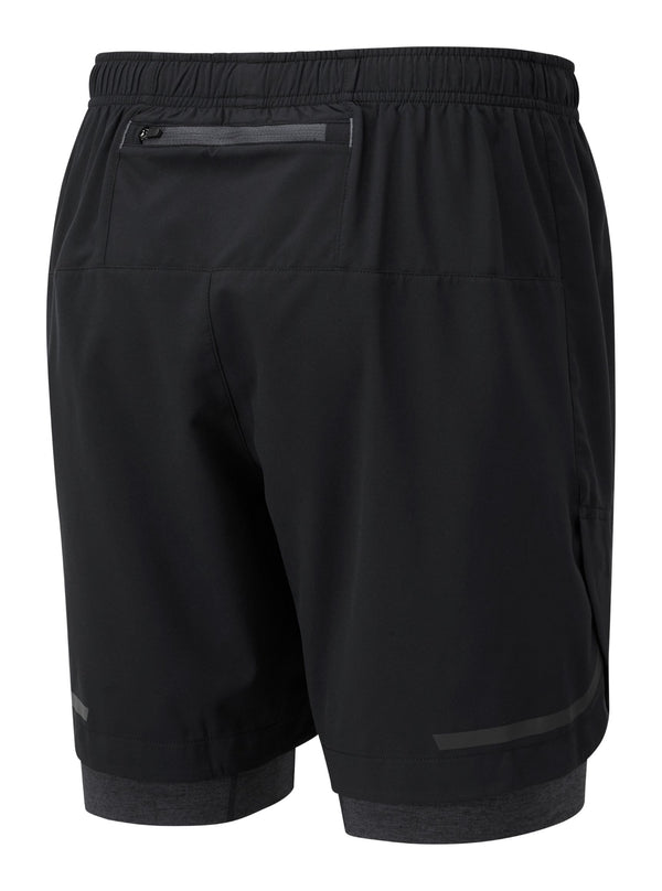 "RonHill M Life 7"" Twin Short - Black/Charcoal Marl"