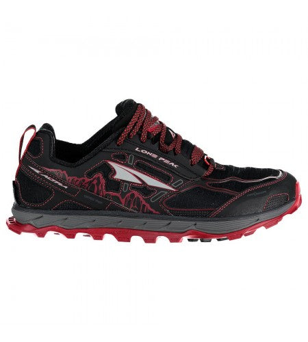 Altra Mens Lone Peak 4 Low Mesh - Black/Red
