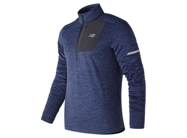 New Balance M Impact Heat Quarter Zip - Tech Blue Heather
