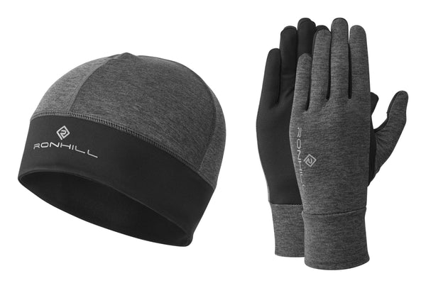 RonHill Contour Beanie and Glove Set - Grey Marl/Black