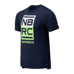 New Balance M Impact Run SS Tee - Energy Lime Heather