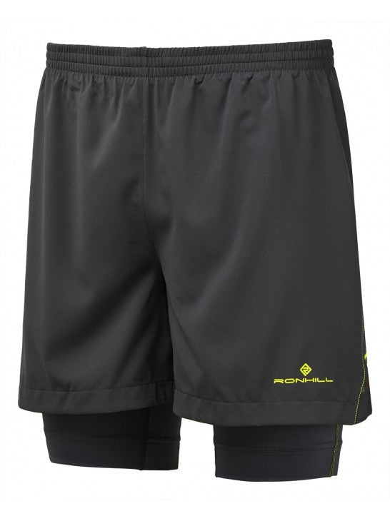 "RonHill M Stride Twin 5"" Short - Charcoal/ Fluo Yellow"