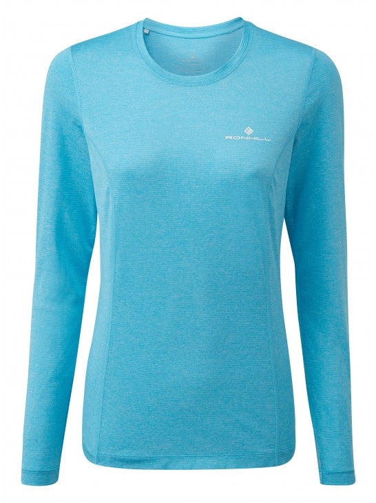 Ronhill W Stride Long Sleeve - Sky Blue Marl
