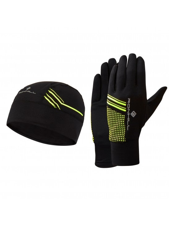 RonHill Beanie and Glove Set - Black/Fluo Yellow