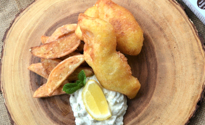 Beer Battered Fish and Chips with Bad Boy Sour Cream Dip Recipe