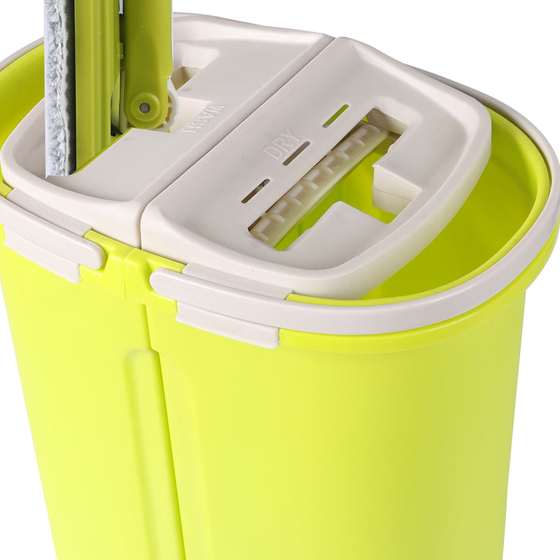 Flat Mop Bucket Floor Cleaner Set-Wet Dry Microfiber Mop Heads-FREE SHIPPING
