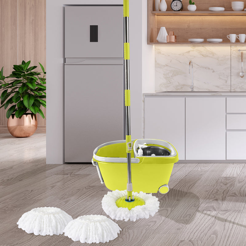 360° Spin Mop Bucket Set-Spinning Stainless Steel-Green-FREE SHIPPING