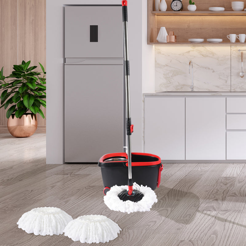 360° Spin Mop Bucket Set-Spinning Stainless Steel-Black-FREE SHIPPING