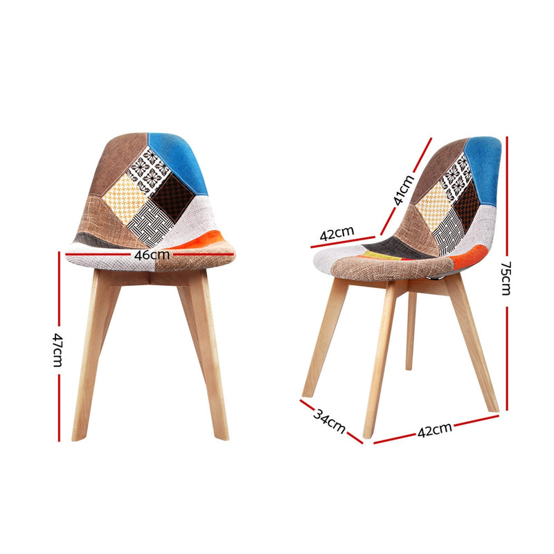 Set of 2 Retro Beech Fabric Dining Chairs-Multi Colour-FREE SHIPPING