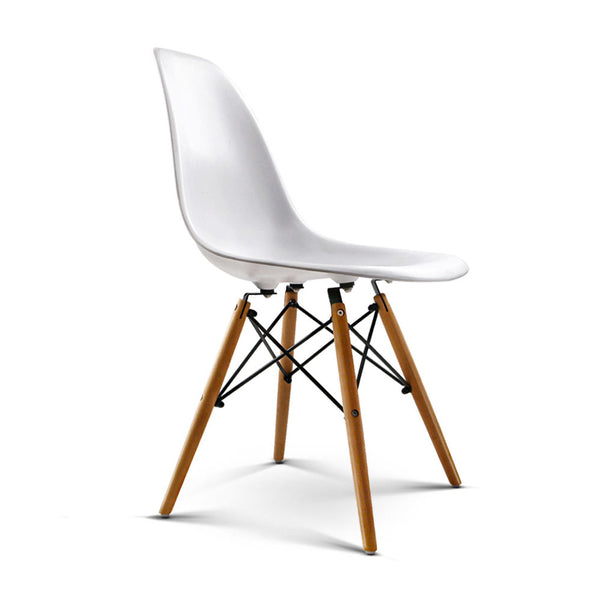 Set of 4 Retro Beech Wood Dining Chairs-White-FREE SHIPPING