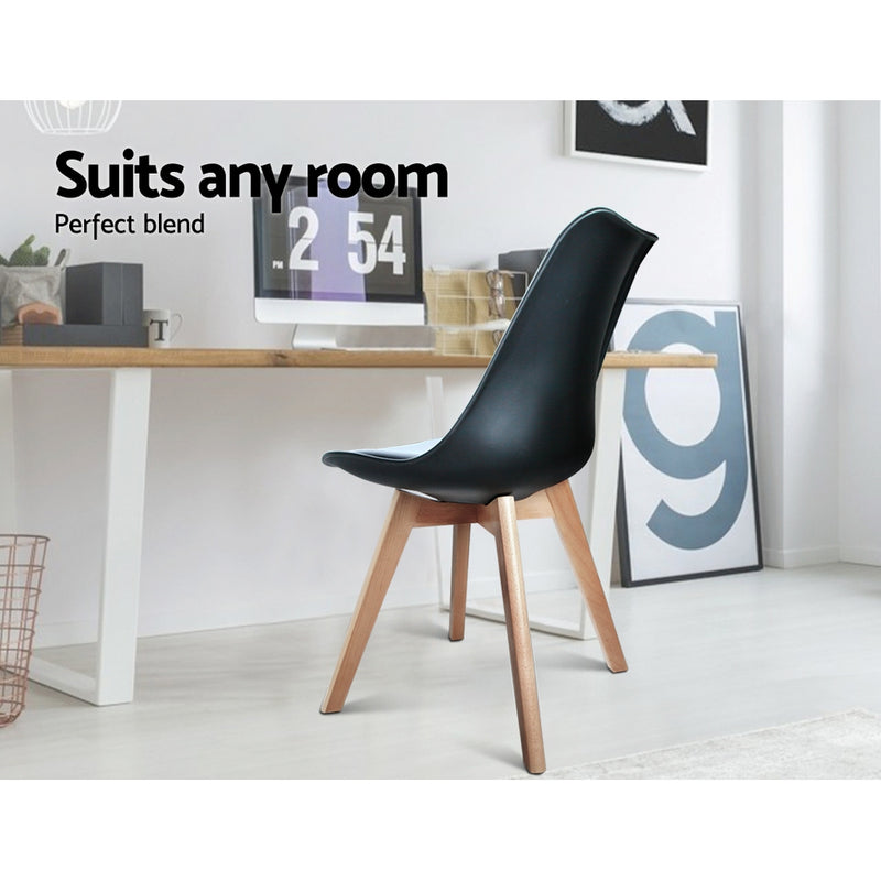 Set of 2 Padded Dining Chairs-Black PU-FREE SHIPPING
