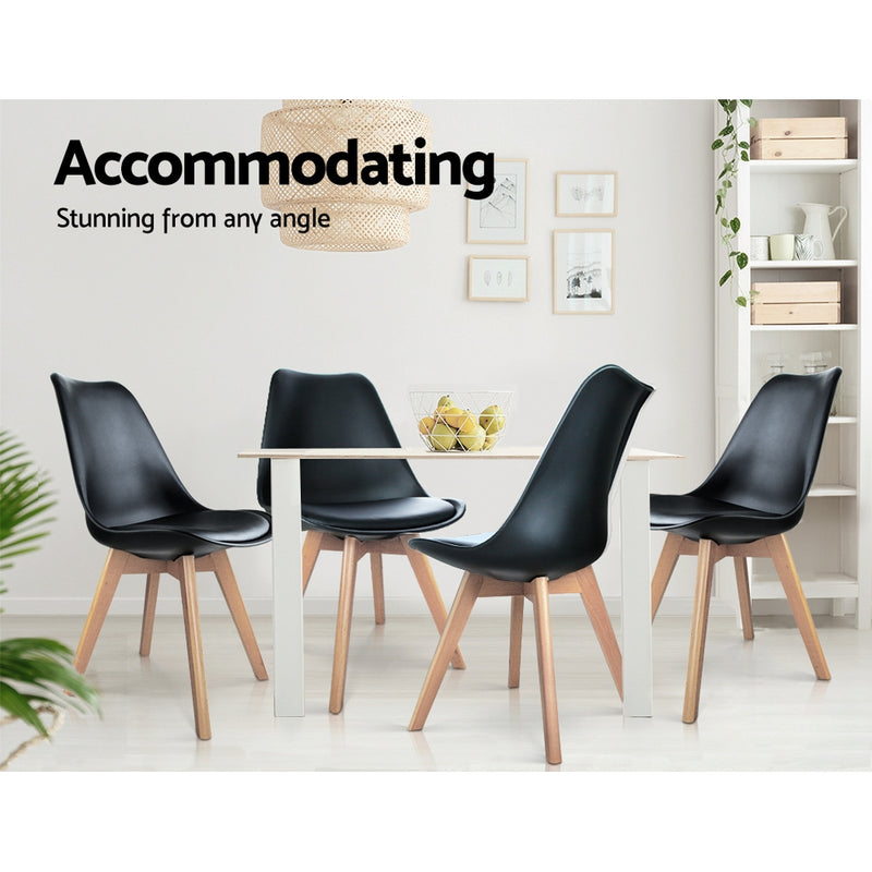 Set of 4 Padded Dining Chairs-Black-FREE SHIPPING