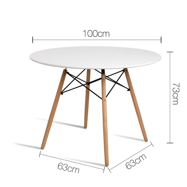 100cm 4 Seater Round Dining Table-White-Replica Eames-FREE SHIPPING