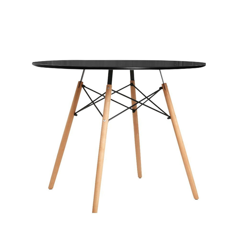 Artiss Round Dining Table 4 Seater 90cm Black Replica Eames DSW Cafe Kitchen Retro Timber Wood MDF Tables