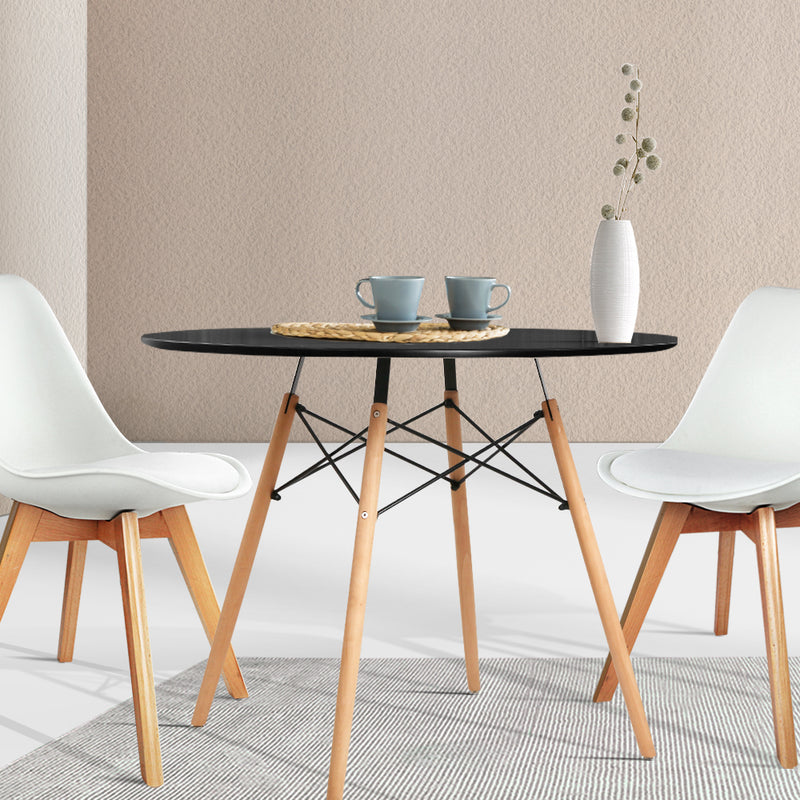90cm 4 Seater Round Dining Table-Black-Replica Eames-FREE SHIPPING