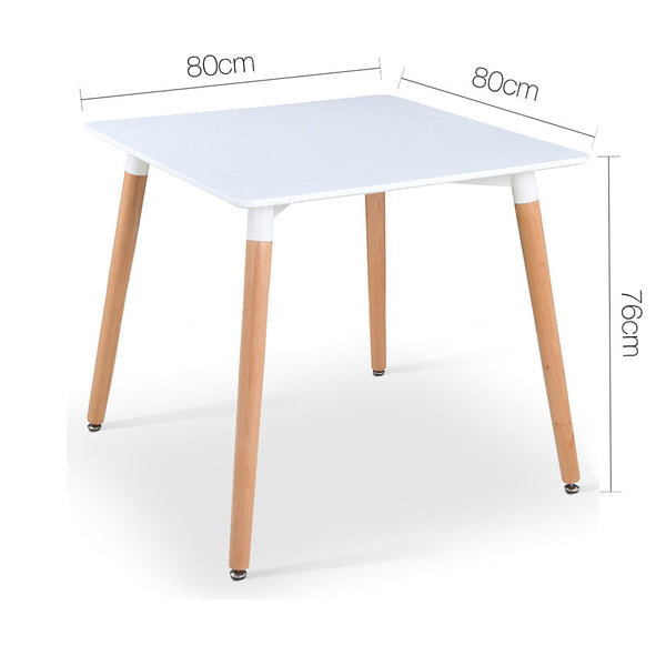 80cm Square Dining Table-4 Seater-White-Replica-FREE SHIPPING