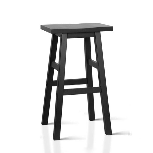 Set of 2 Wooden Backless Bar Stools-Black-FREE SHIPPING