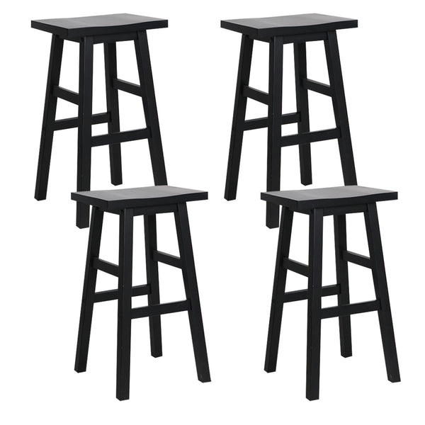 Set of  4 Wooden Bar Stools-Black-FREE SHIPPING