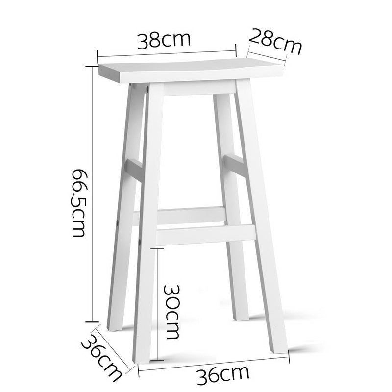 Set of 2 Wooden Backless Bar Stools-White-FREE SHIPPING