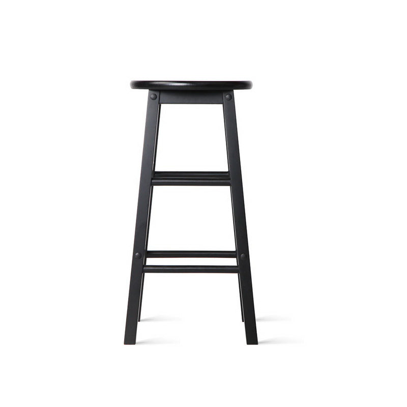 Set of 2 Beech Wood Backless Bar Stools-Black-FREE SHIPPING