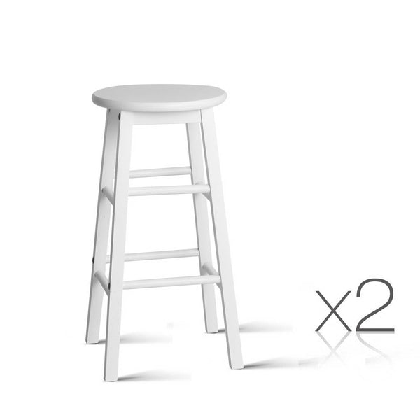 Set of 2 Beech Wood Backless Bar Stools-White-FREE SHIPPING