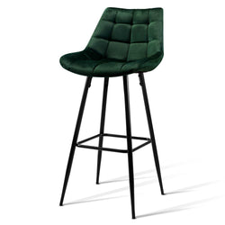 Artiss Kitchen Bar Stools Velvet Bar Stool Counter Chairs Metal Barstools Green