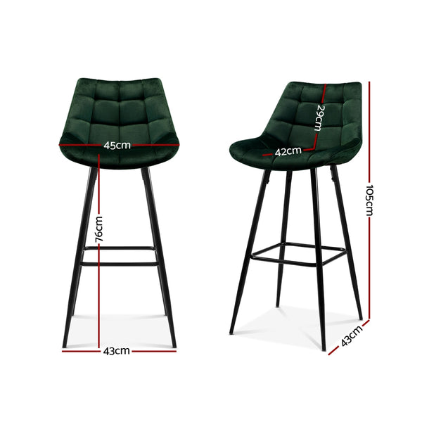 Set of 2 Kitchen Bar Stools-Green Velvet-FREE SHIPPING
