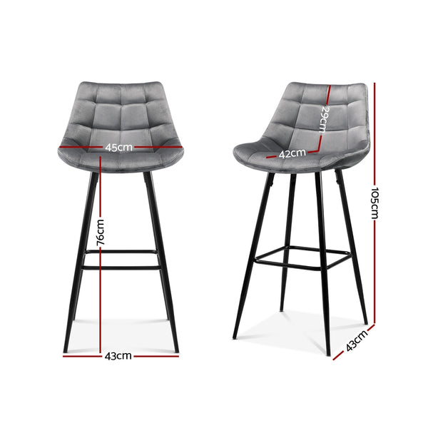 Set of 2 Velvet Kitchen Bar Stools-Grey-FREE SHIPPING