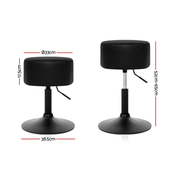 Set of 2 Kitchen Bar Stools-Gas Lift-Swivel-PU Faux Leather-Black-FREE SHIPPING