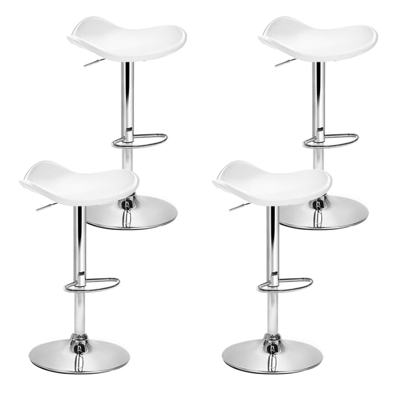 Set of  4 Kitchen Bar Stools-Swivel Bar Stool-PU Faux Leather-Gas Lift- White-FREE SHIPPING