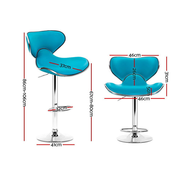 Set of 2 Bar Stools-Gas lift Swivel Stools-Teal PU Faux Leather-Chrome-FREE SHIPPING