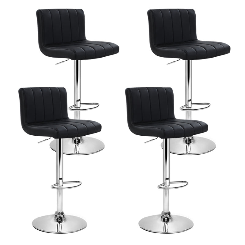 Set of 4 PU Faux Leather Bar Stools-Black-Gas Lift Swivel-FREE SHIPPING