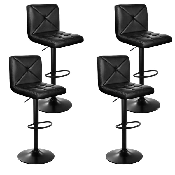 Set of 4 Bar Stools-PU Faux Leather-Chrome-Gas Lift-Black-FREE SHIPPING