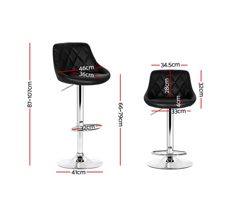 Set of 2 Bar Stools-Gas Lift-Swivel-PU Faux Leather-Chrome-Black-FREE SHIPPING