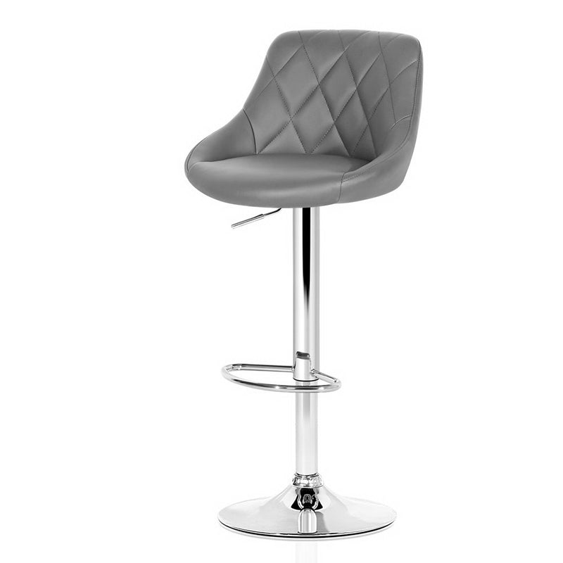 Set of 2 Bar Stools-Gas Lift-Swivel-PU Faux Leather-Chrome-Grey-FREE SHIPPING