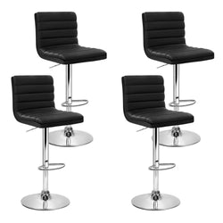 Set of 4 PU Faux Leather Bar Stools-Black-Gas Lift-FREE SHIPPING