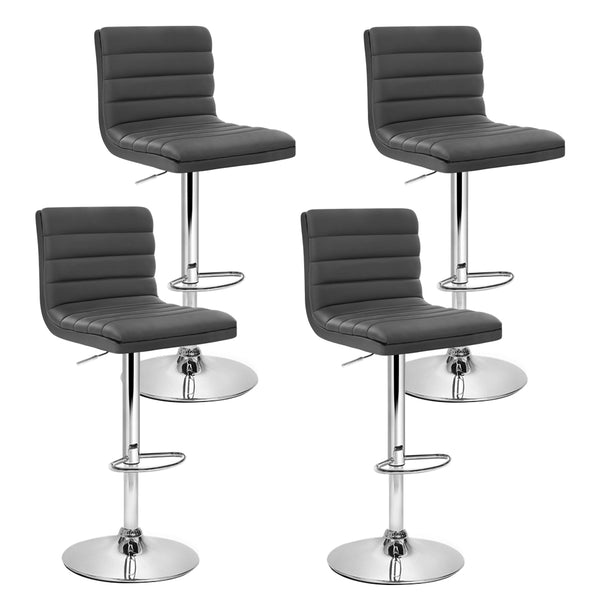 Set of 4 PU Faux Leather Bar Stools-Swivel-Gas Lift-Grey-FREE SHIPPING