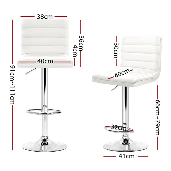 Set of 4 PU Faux Leather Bar Stools-Swivel Bar Stool-White Gas Lift-FREE SHIPPING
