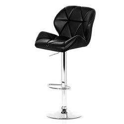 Set of  2 Bar Stools-Gas Lift-Swive-PU Faux Leather-Chrome-Black-FREE SHIPPING