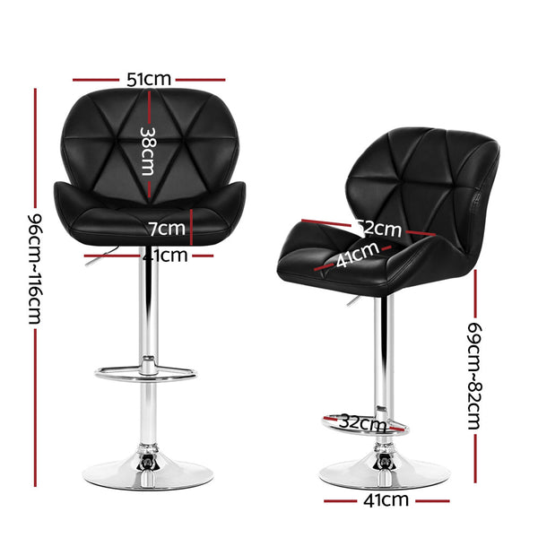 Srt of 4 Kitchen Bar Stools-Swivel-PU Faux Leather-Gas Lift-Black-FREE SHIPPING