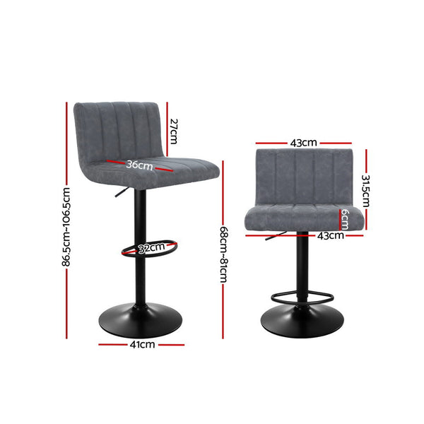 Set of 2 Kitchen Bar Stools-Swivel-PU FAUX Leather-Gas Lift-FREE SHIPPING