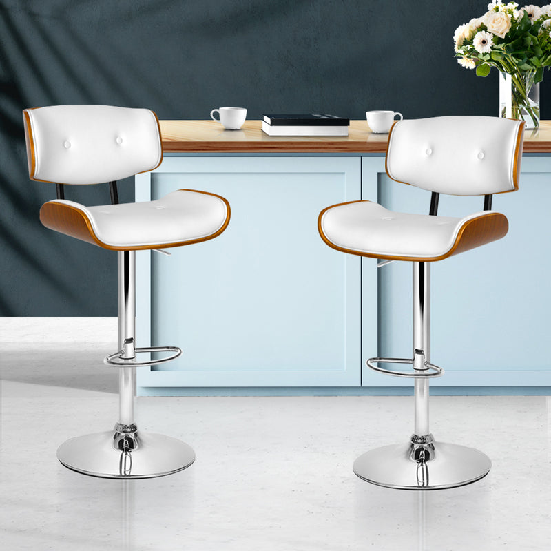 Set of 2 Wooden and Metal Bar Stools-White Pad-Gas Lift-FREE SHIPPING