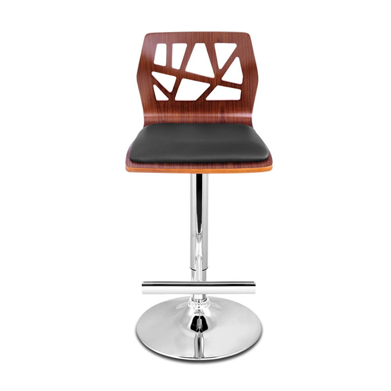 Set of 2 Wooden and PU Faux Leather Gas Lift Bar Stools-Black-FREE SHIPPING